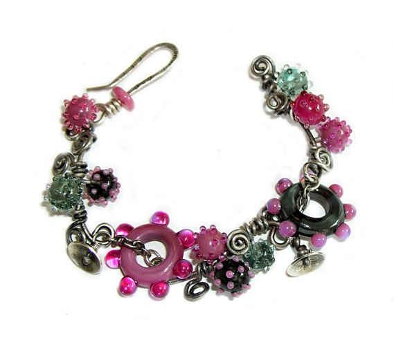 items similar to kick the can lampwork bracelet in pinks and grey colors made to order on etsy
