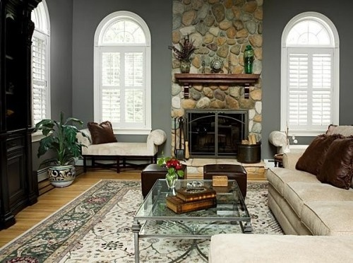 """Benjamin Moore color """"chelsea gray""""....love it: Interior, Benjamin Moore Colors, Decorating Ideas, Paint Colors, Family Room, Fireplace, Contemporary Living Rooms, Design, Color Chelsea Gray"""