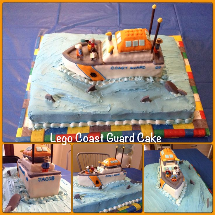 Lego Coast Guard boat cake. With molded sharks and Rice Krispies boat covered with fondant.