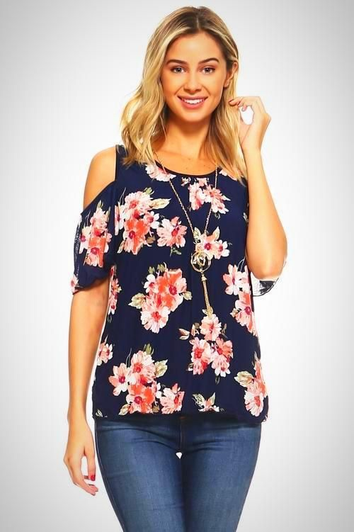 2fb687d8d53e14 Short Sleeve Cold Shoulder Top with Necklace in 2019 | Fashion | Tops,  Floral tops, Cold shoulder