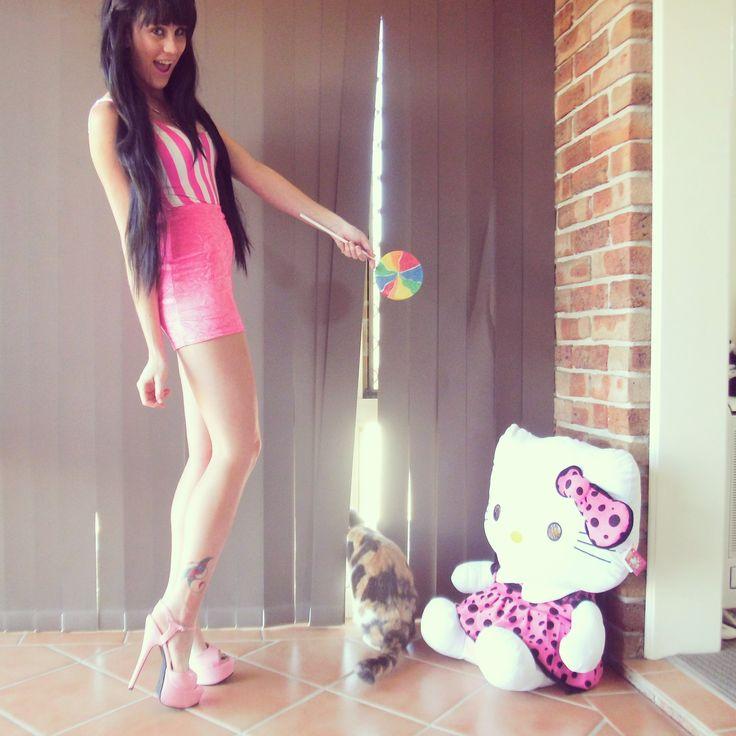 Candy stripe bodysuit & Crushed velvet pink skirt