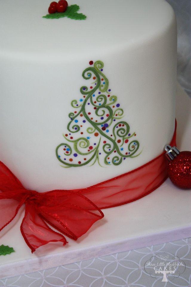 Hand-painted abstract Christmas tree. 8 inch gingerbread cake, vanilla Swiss meringue buttercream, white chocolate ganache and vanilla fondant