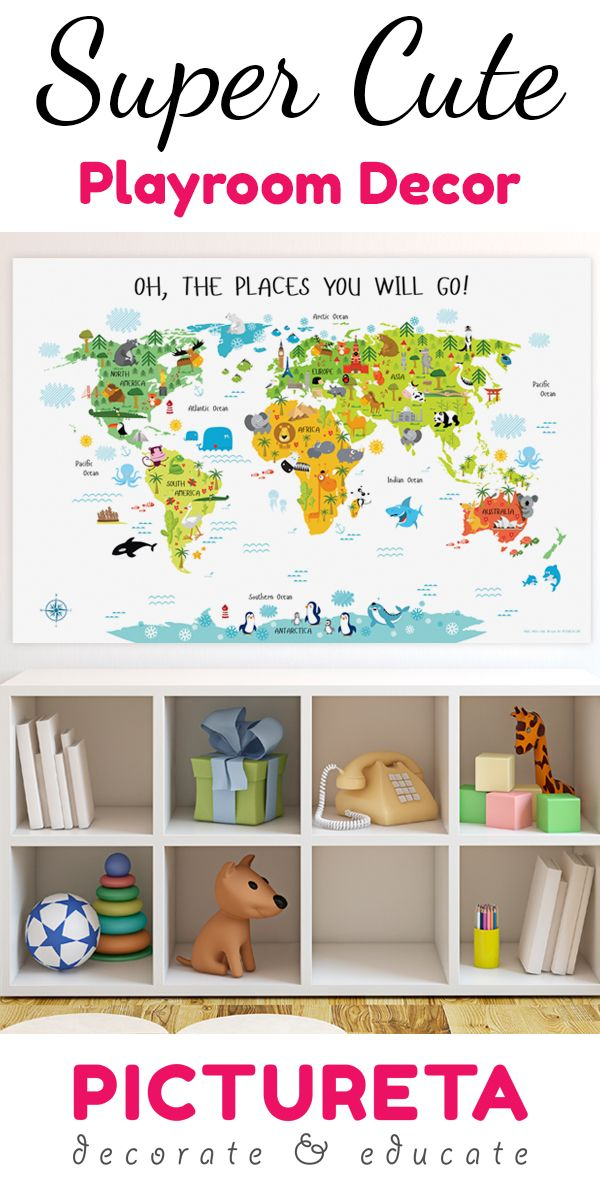 "Do you want to make a meaningful baby gift, decorate your baby's nursery or create a fun playroom? My First World Map poster with ""Oh, the places your will go!"" title and white background will take yo                                                                                                                                                                                 More"