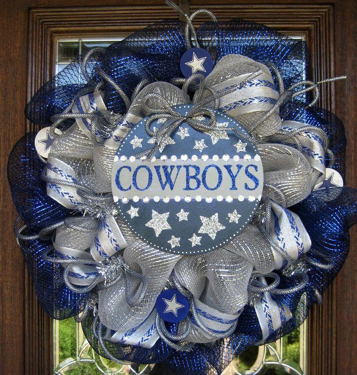 Deco Mesh DALLAS COWBOYS Wreath with GLITZ by decoglitz on Etsy, $95.00