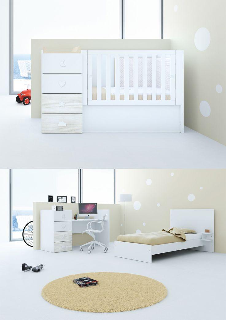 La cuna convertibles Just Bubble es ideal para espacios infantiles pequeños. Se convierte en habitación infantil completa. Además, este color es novedad del nuevo catálogo 2016/2017 de Alondra ¿Qué os parece? ¡A nosotros nos encanta!