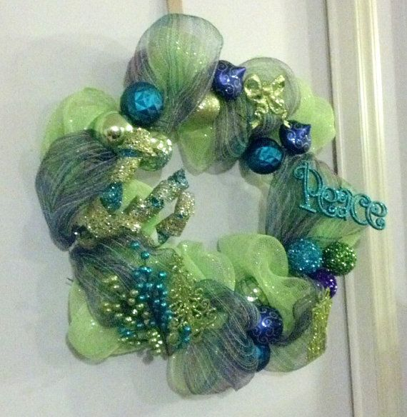 Christmas Deco Mesh Wreath/ Lime Green Blue by HangingOutWithJJ, $40