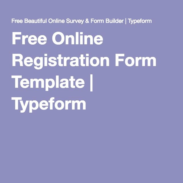 Free Online Registration Form Template | Typeform
