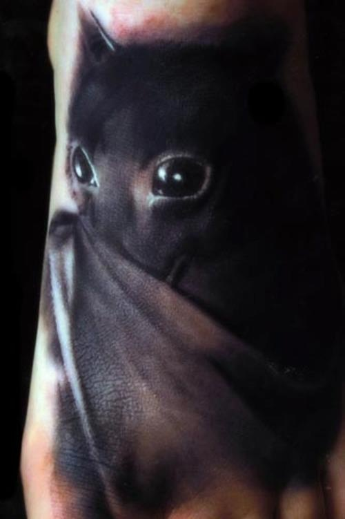 Hyper realistic, and just freaking adorable (and I hate bats) black bat tattoo idea. LOOK AT THOSE EYES. So cute. Yuck. But, no, cute.-BirdY