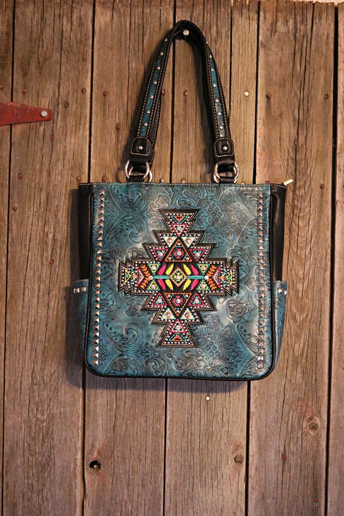 Tooled Aztec Purse Tooled Leather Turquoise Purse Aztec Stitched Design on Front  Silver Accents on the Body and Strap