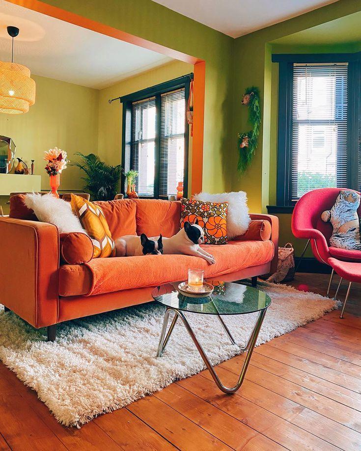 12 Colors That Go With Orange Living Room Orange Living Room Green Orange And Green Living Room