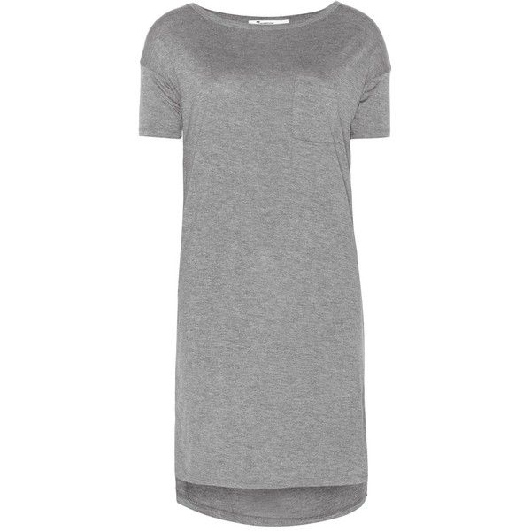 T by Alexander Wang Classic Jersey T-Shirt Dress ($103) ❤ liked on Polyvore featuring dresses, grey, grey t shirt dress, gray tee shirt dress, tee dress, jersey t shirt dress and tshirt dress