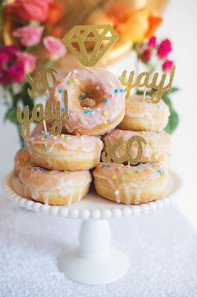 Fun bridal shower donut display idea - sprinkle donuts displayed in as a tower with gold glitter diamond topper - Design by @bashandcoparty {Scarlet O'Neill Photography}
