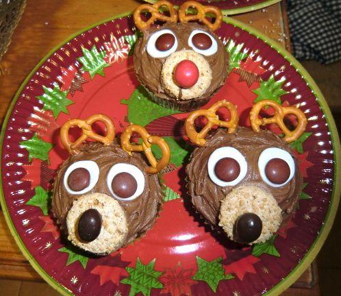 Cupcakes de renos de Papá Noel
