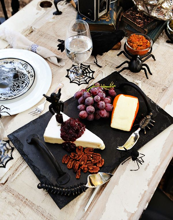 Such a good halloween cheese tray! Brie with cranberry and Port Salut