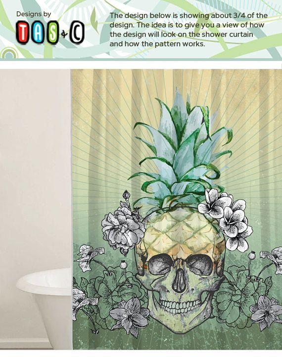 Skull Shower Curtain Set Custom Shower Curtain Pineapple