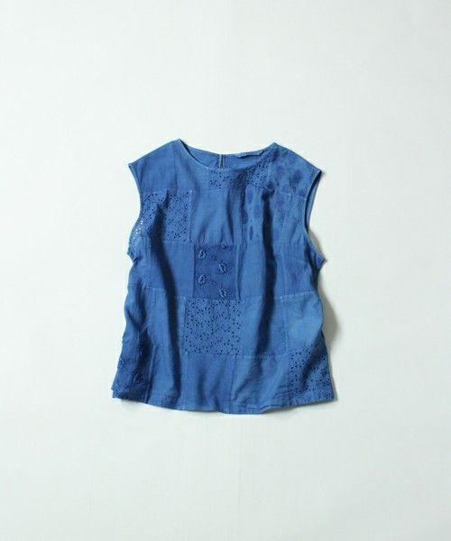 45R Lady's(レディース)の藍パッチワーク×天竺キャミソール(Tシャツ/カットソー)|インディゴブルー