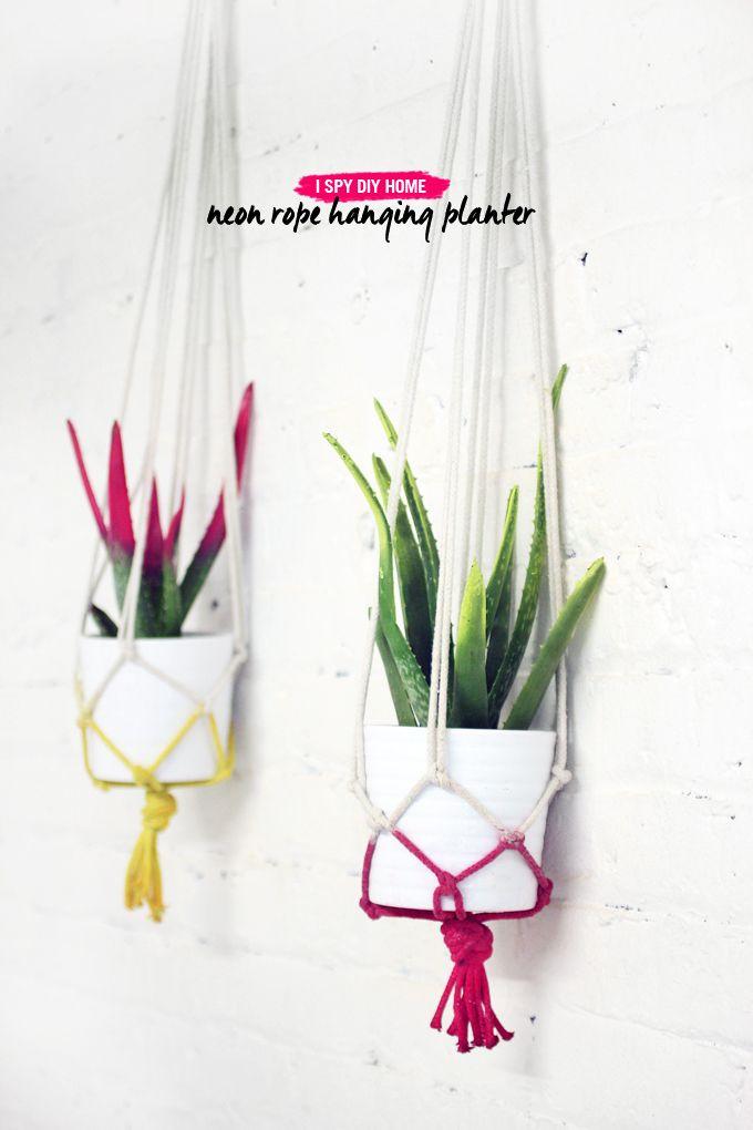 MY DIY   Neon Rope Hanging Planters