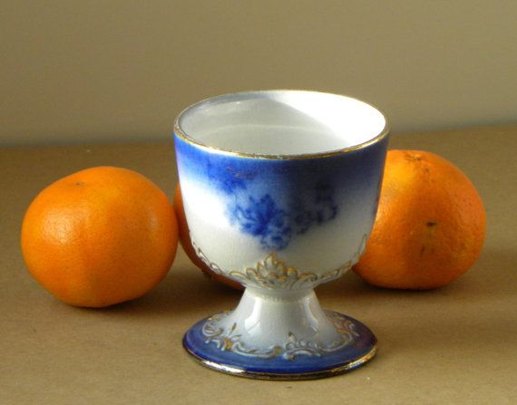 Flow Blue China Cup with Gilt Detail by PacificWhim on Etsy, $12.00