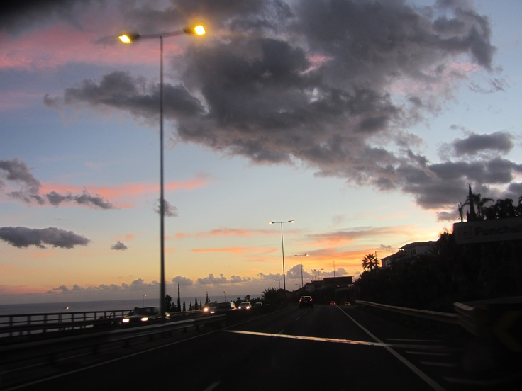 sunset in the hightway