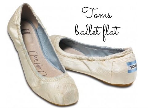 Toms Ballet Flat: This particular style by Toms has more cushioning than their classic style. Wear them as your primary wedding shoe or change into them for the reception. Add a fancy shoe clip to dress them up.