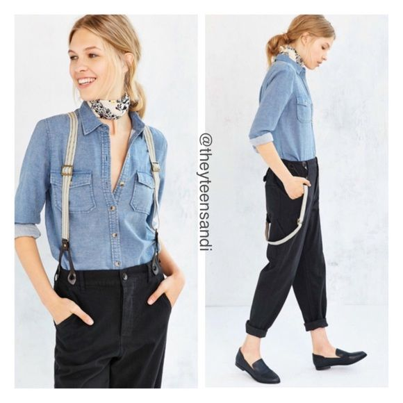 "Urban Outfitters BDG Annie Pants with Suspenders Casually sophisticated Annie Pants by Urban Outfitters staple brand, BDG. Relaxed straight-leg sits above the hip complete with a button-fly and button-waist closure and a 4-pocket design. Complete with adjustable and removable buckled suspenders attached to the waist. Color = Washed Black. 100% high quality cotton. Waist: 31"". Inseam: 27"" with 1.5"" cuff. Urban Outfitters Pants Ankle & Cropped"