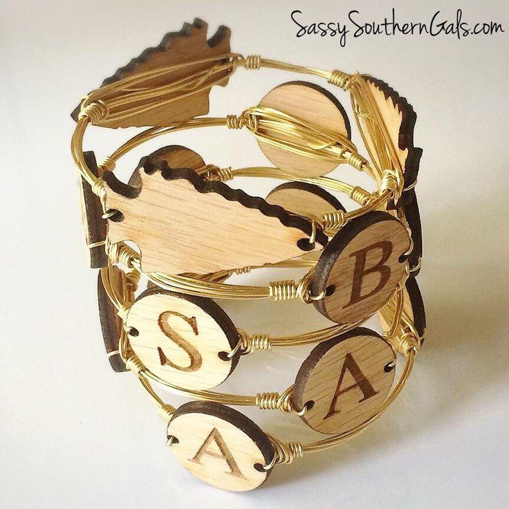 Monogram Bracelet, Engraved Wood Monogram Bracelet, Engraved Monogrammed Bracelet, Wire Wrap Bracelet, Monogrammed Gift by SassySouthernGals on Etsy https://www.etsy.com/listing/265092760/monogram-bracelet-engraved-wood-monogram