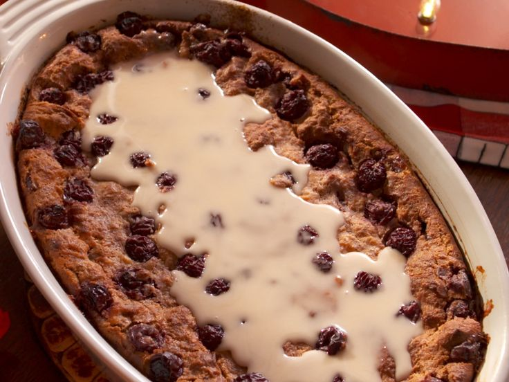 Bourbon-Soaked Cherry Bread Pudding with Vanilla Glaze recipe from Nancy Fuller via Food Network