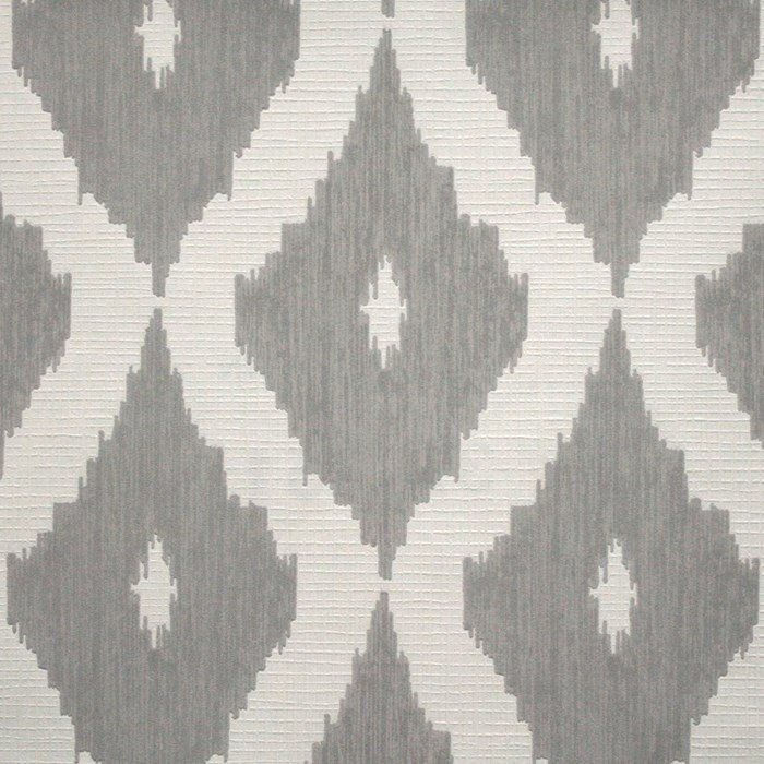 Kelly's Ikat Wallpaper in White and Soft Grey design by Kelly Hoppen for Graham & Brown
