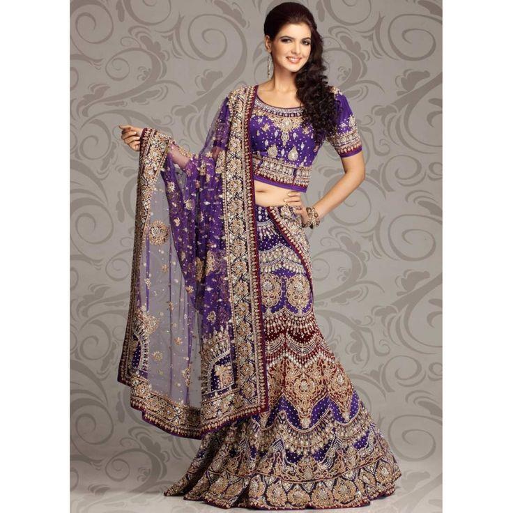 pink, purple and gold lenghas | Purple Zardosi And Stone Studded Net Lehenga Choli: Ref 575