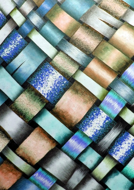 This is a great exercise for art students: a painting of a weaving, with every strand of flax painted / drawn using a different medium or technique. It encourages creativity with media, as well as allows student to practise their blending of tone. The 'under/over' nature of the weaving also helps students to understand how to create depth and 'space' within their work.