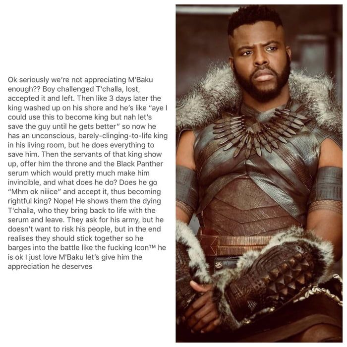 M'Baku appreciation post. But they weren't the servants of T'Challa!! They were literally the royal family and a Wakandan spy who happened to be T'Challa's ex and a CIA agent!!!! NOT SERVANTS!!!!!
