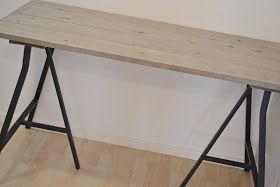 Lyst på nytt skrivebord? KROnPRINSESSENE har lidenskapt dette: Du trenger: Sag Planker Skruer Metermål Benbukker Beis Sag plankene i ...