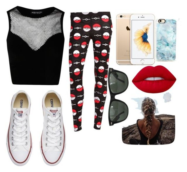 """Pokémon hunting outfit"" by youtubeobsessedchick on Polyvore featuring Converse, Ray-Ban, Casetify and Lime Crime"