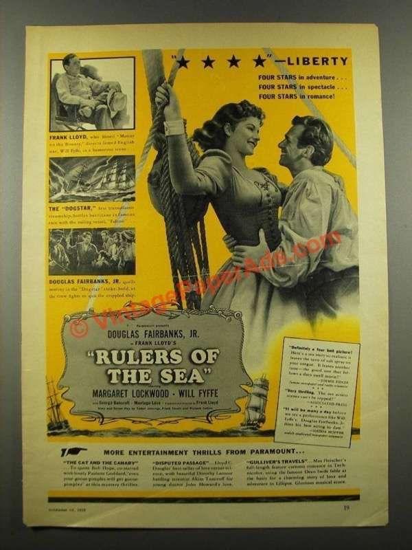 1939 Rulers of the Sea Movie Ad - Douglas Fairbanks