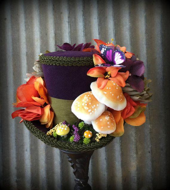 Mini Top Hat, Purple Mushroom, Caterpillar Mini Top Hat, Alice in Wonderland, Tea Party, Mad Hatter Hat, Kentucky Derby Hat,Toadstool