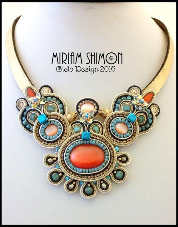 Gold orange turquoise cream Soutache necklace by MiriamShimon