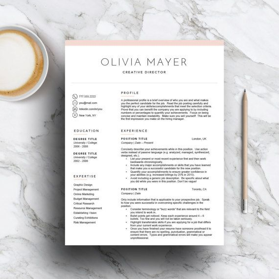 Creative Resume Template For Word U0026 Pages 3 Page Cv Template, Cover Letter)  Pink Resume Template  3 Page Resume