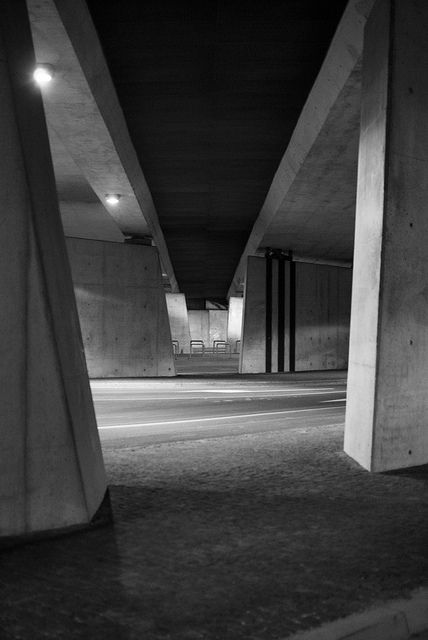 a #tunnel underneath a #highway next to the football #stadium in #wroclaw