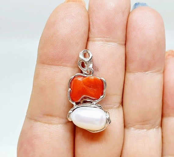 Mediterranean coral Ring in silver and genuine Mediterranean coral 925