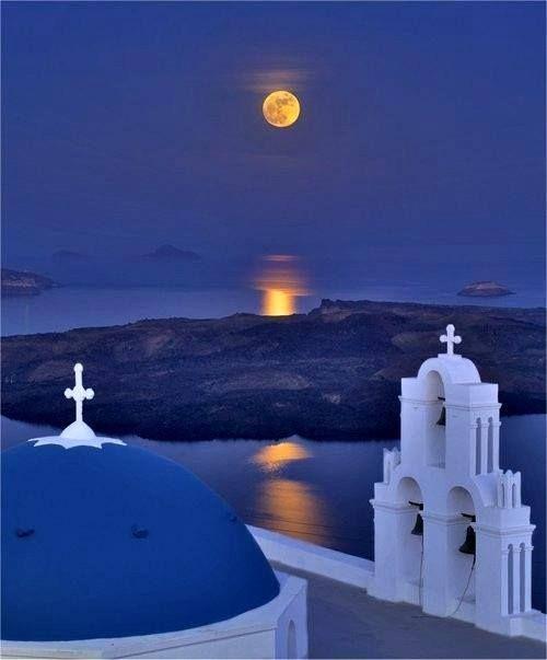 Full moon night over Santorini, Greece