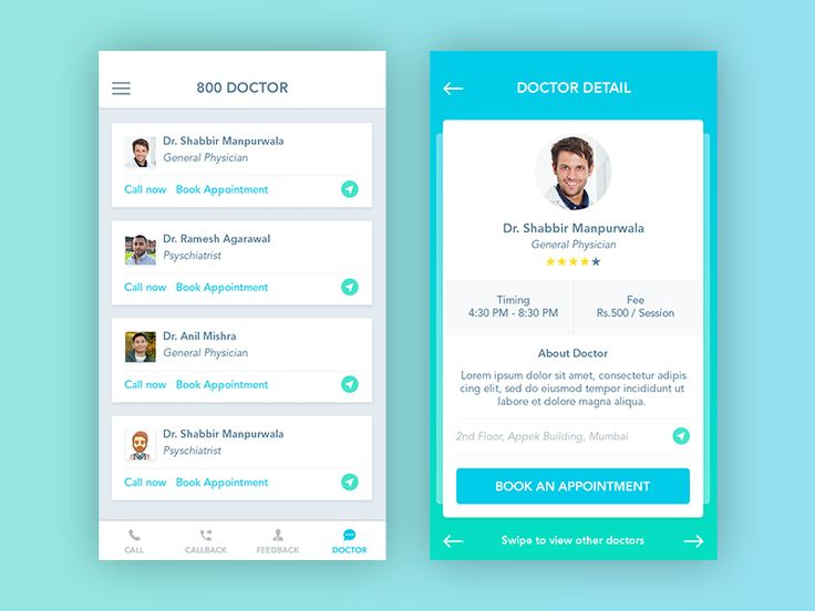 New Interface for 800 Doctor App by Shabbir Manpurwala