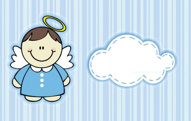 Baby angel with cloud and blue stripes Vector | Free Download