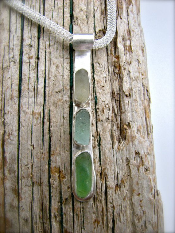 Spring Pastel Sea Glass Sterling Silver Necklace, Sea Glass Jewelry