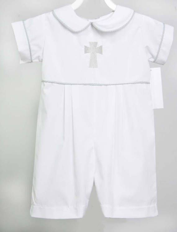 Baby clothes in a boys baby long bubble romper is one cute baby boy baby baptism outfit item from our kids. Our childrens shop offers baby boy clothes and things for twin babies in many styles. This adorable christening outfit is shown in white with light gray piping and light gray cross.