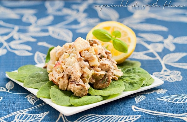 Lemon Basil Chicken Salad. Serve on a bed of baby spinach for a light ...