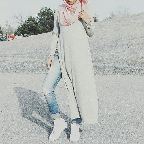How to style open dress with jeans- hijab – Just Trendy Girls