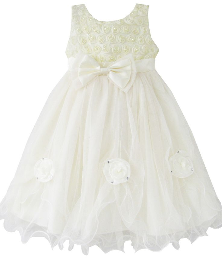 Girls Dress Rose Flower Cream Wedding Pageant Party Size 2-10 Years