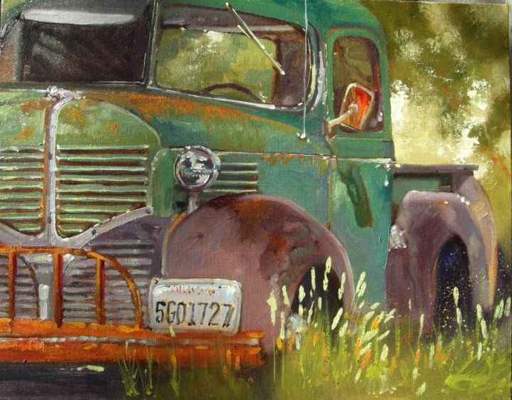 In terms of a sense of place this piece, on a rusting old car, suggests the theme through the composition and arrangement of the painting.