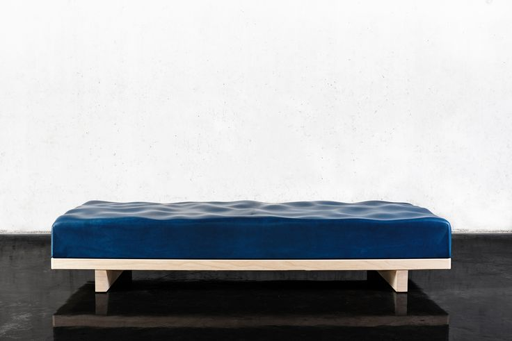 Windstärke 5 daybed with water surface by Royal College of Art graduate Felix Pöttinger. Combining Algorithms-Aided Design and traditional craftsmanship in a minimalist piece of furniture.