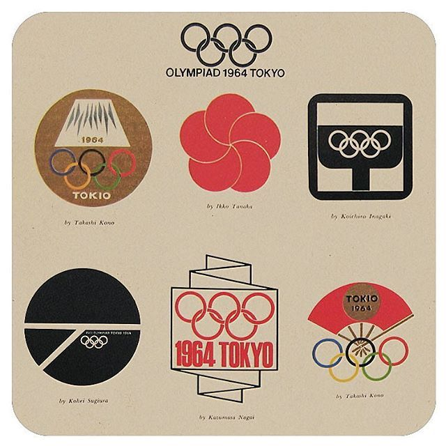 "A beautiful page of logo submissions from the book: ""Design Project for the Tokyo 1964 Olympic Games"" sent to me by my friend, @mwgnyc"